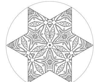 Star Coloring Page, Star Design, Star Pattern, Printable Coloring Book, Printable Art, Mandala, Color Me In, Mandala Design, Mandala Art
