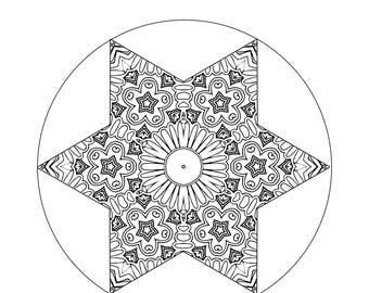 Mandala Coloring Page, Starburst Coloring Pattern, Mindfulness Coloring, Coloring Book, Digital Art Download, Color Me In, DIY Coloring, Art