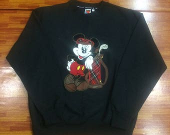 Vintage Mickey Mouse golf sweatshirt black colour size large