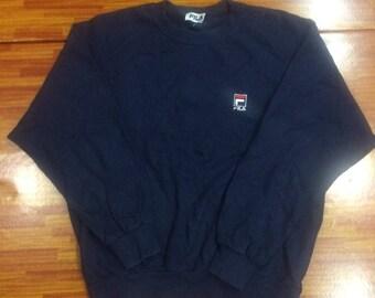 Vintage Fila sweatshirt hip hop rap tees..blue black..size large
