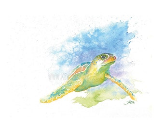 SEA TURTLE PRINT - gift ideas, prints, gift for mom, gifts, print, wall decor, nursery art, bedroom decor, living room decor, wall art,