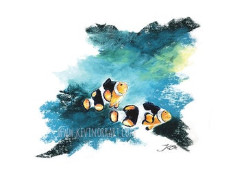 CLOWNFISH PRINT - prints, gift ideas, gift for mom, print, home decor, wall art, office decor, office art, wall decor, decor, art, artwork,