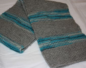 Gray and Blue Striped Scarf