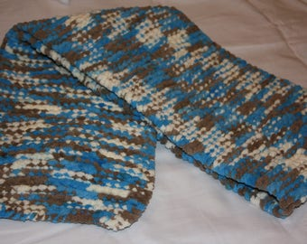 Blue, Brown, and White Fleece Scarf