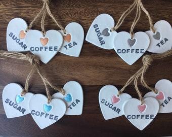 Tea, coffee, sugar clay tags with heart