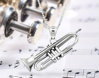 Trumpet Bugle Necklace Pendant