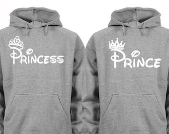 38bec387bc Free Shipping Prince Princess Crowns White Font Matching Couples Family  Love Husband Wife BF GF Men Women Crewneck V-Neck Hoodies Gray