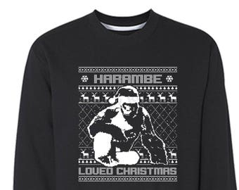 free shipping harambe loved christmas gorilla ugly christmas sweater snowflake animal party elf ho ho men women crewneck sweatshirt black