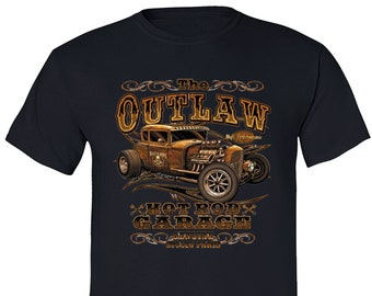 Free Shipping Men s Outlaw Hot Rod Garage Tee USA American Patriot  Motorcycle Car Vintage Nostalgic Gift Men s Crewneck T-shirt 8393ec1259bdb