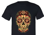 XtraFly Apparel Men 39 s Sugar Skull Day of the Dead Tee Diamond Mexican Gothic Dia Los Muertos Gift Crewneck T-shirt