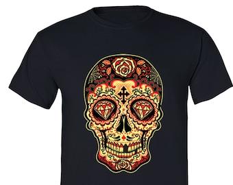 Crewneck Sweatshirt Full Color Sugar Skull with RosesMexican Flag Heritage