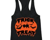 XtraFly Apparel Women 39 s Halloween Trick or Treat Halloween Costume Racerback T-shirt Black
