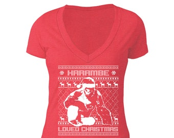 Free Shipping Harambe Loved Christmas Santa Ugly Christmas Sweater Snowflake Party Elf HO HO Men Women T-shirt Red