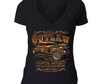 Outlaw Hot Rod Garage T-shirt USA America Patriot Motorcycle Car Shirt Pink