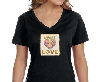 4d4147e90 XtraFly Apparel Women's Baby Love Reversible Flip Gift Sparkle Mom Sequin  Sequined V-Neck T-Shirt