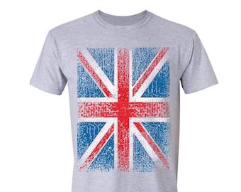Free Shipping Union Jack Flag T-shirt United Kingdom Harry Kane Sterling World Cup Russia 2018 British Britain England UK Flag Tshirt Gray