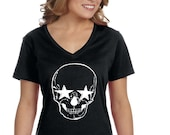XtraFly Apparel Women 39 s Halloween Skeleton Head Stars Party Fall Trick or Treat Gift V-neck T-shirt