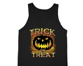 XtraFly Apparel Men 39 s Halloween Trick or Treat Scary Pumpkin Hurt Halloween Costume Tanktop Black top