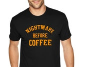 XtraFly Apparel Men 39 s Tee Halloween Nightmare Before Coffee Party Fall Trick or Treat Gift Crewneck T-Shirt