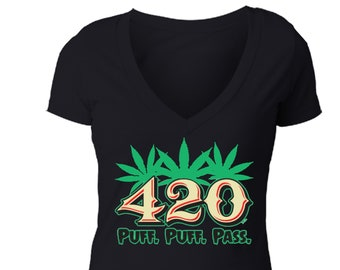 69a4b89a2d Free Shipping Women s Puff Puff Pass 420 Tee Marijuana Leaf Weed Pot Kush  Bud Joint Dope High Gift Women s V-Neck T-shirt