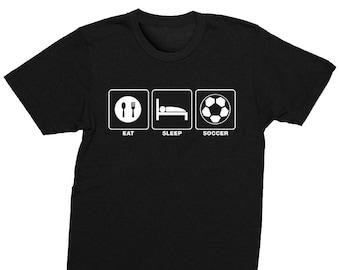 2975a06c3 XtraFly Apparel Mens Eat Sleep Soccer Sports Fan Player Lover Goal Coach  Team Gift Dad Husband Boyfriend Father's Day Crewneck T-Shirt