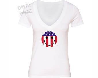 ceecf7a5f2985 Free Shipping American Flag Distressed Emoji Smiley 4th of July T-shirt  Clothing USA Pride Shirt White