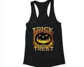XtraFly Apparel Women 39 s Halloween Trick or Treat Scary Pumpkin Halloween Costume Racerback T-shirt Black