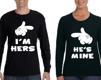 8303bfadc9c Free Shipping Matching Couples He s Mine Im Hers Love Husband Wife  Boyfriend His Hers Vacation Gift Valentine s Long Sleeve Men Women Shirts