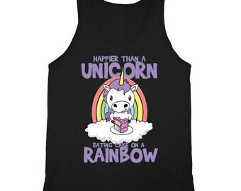 Unicorn Eating Sweet Rainbow Cake Tank Top Stars Fantasy Magic Sleeveless