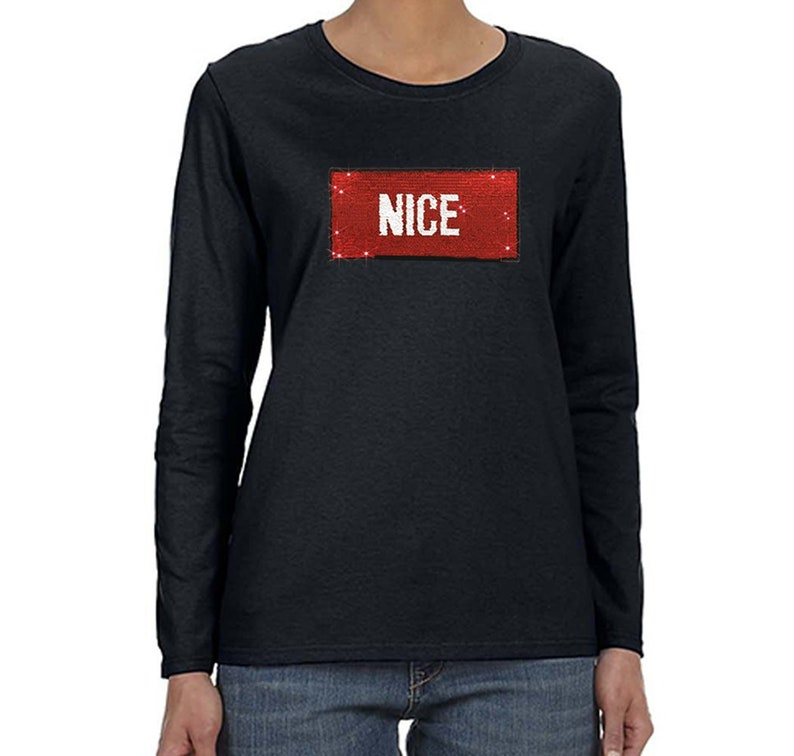 Womens Naughty Nice Flip Reversible Sequined Christmas Party V-Neck T-Shirt