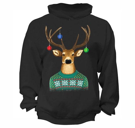 PUSHING BLACK Merry Christmas with Reindeer Antlers Unisex Zipper Hoodie