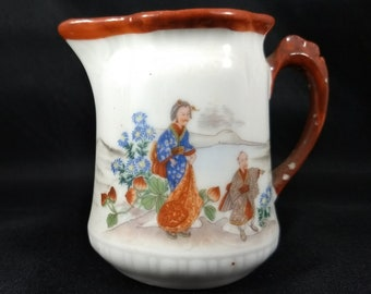 Porcelain Creamer, Oriental Scene, 3.5 inches high