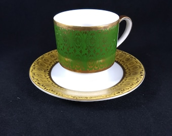small tea cup and saucer, 2.5 inches tall, saucer 4 inches in diameter, marked Winterling Bavaria Germany 41