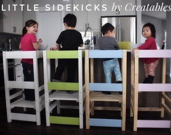 Little Sidekick Learning Stool, Montessori Tower, Kitchen Helper Stool with Vinyl lettering