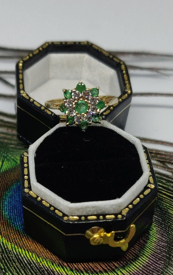 Emerald and cz cluster ring. sparkly Emerald state