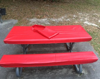 Table Glove Fitted Marine Grade Vinyl Picnic Tablecloth Sets  Picnic Table  Cloth Cover   Classic Red