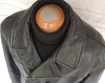 Xl Size 50! SCHOTT Us 740N Leather Naval Pea Coat Vintage Jacket PERFECTO PEACOAT