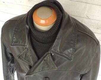 Large Size 46 SCHOTT Usa 740N Leather Naval Pea Coat Vintage JACKET Perfecto PEACOAT