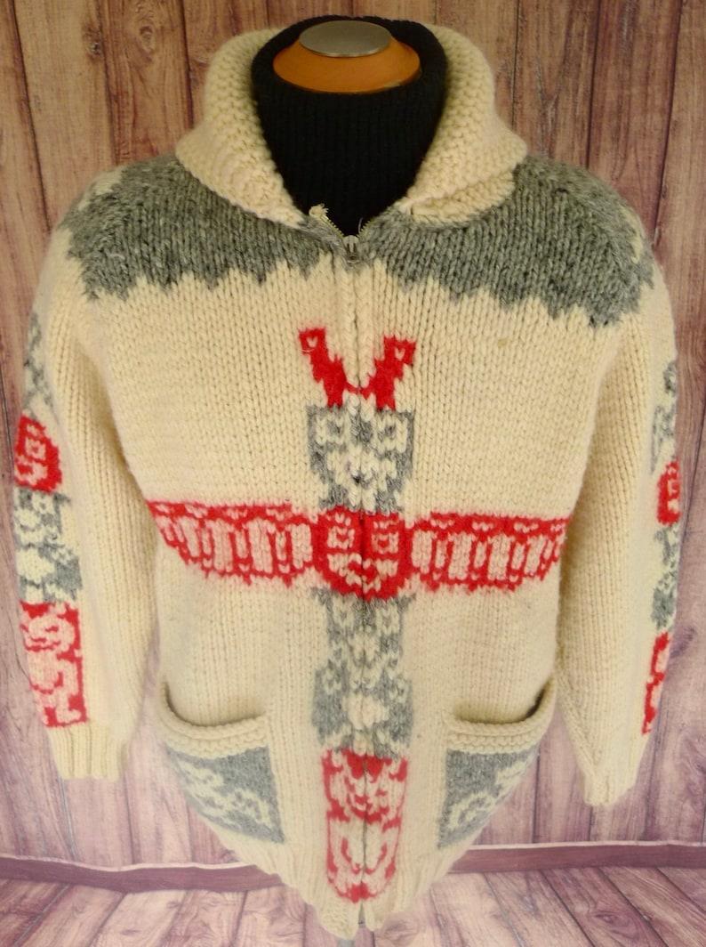 13dec50e00c COWICHAN viNTAGE indien à la main-tricot Pure laine TOTEM Pole