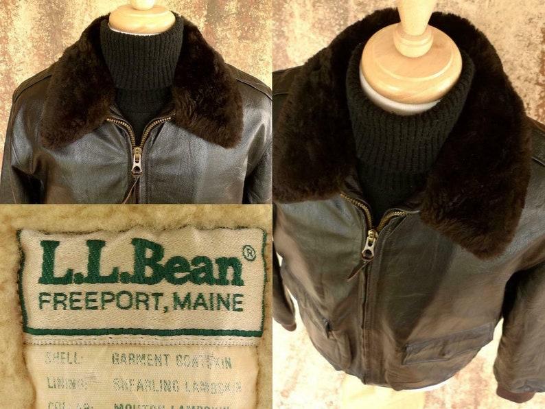 768053025 FLYING TiGERS LL BEAN MAiNE Goatskin LEAtHER AViATOR BOMBeR Jacket  SHEEPSKiN 44 Vintage