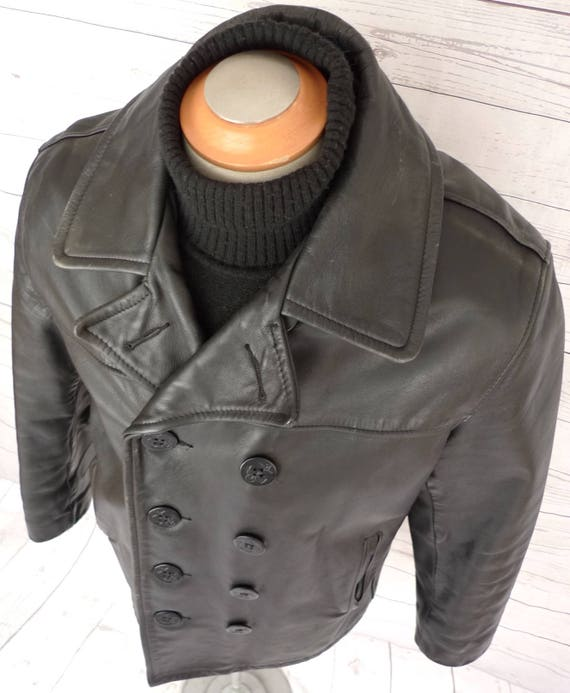 new concept factory 60% discount RESeRVED - SCHOTT Us 740N Leather Naval Pea Coat Vintage Jacket PERFECTO  PEACOAT Usa 40