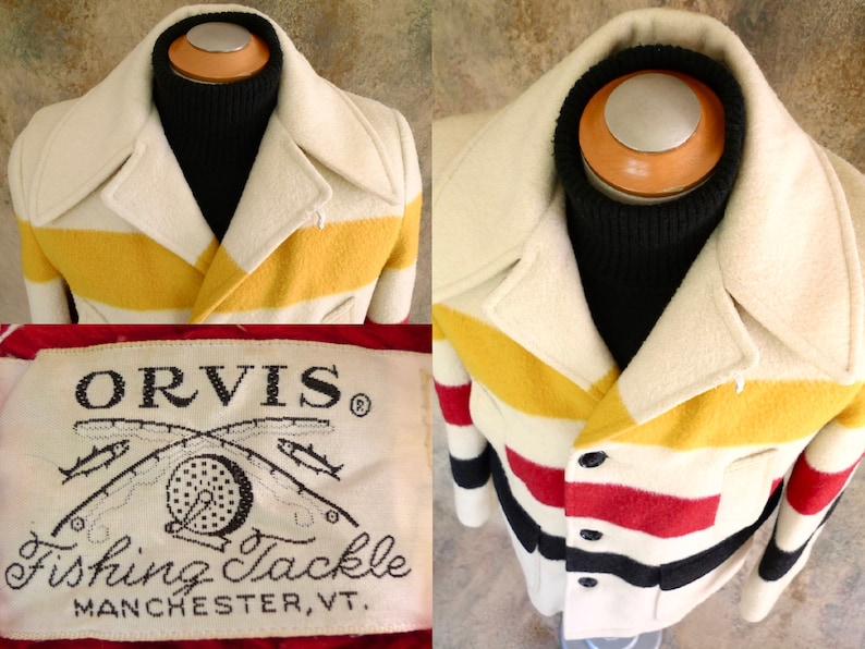 Vintage ORVIS HUDsON BAY Style Striped WOOL BlANKET Coat JAcKET SHERpA Lining 38