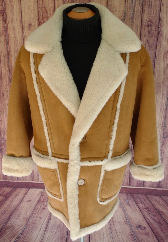 94895232f3 Marlboro Man SHEEPSKiN Shearling Coat JACKET Fur MENS CANADIAN
