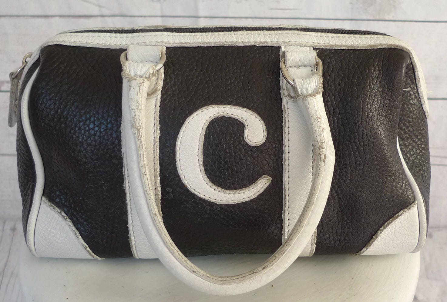 a39531b6f7 Vintage ROOTS LEATHER HANDBAG Retro Purse Mini Dr. Bag Initial