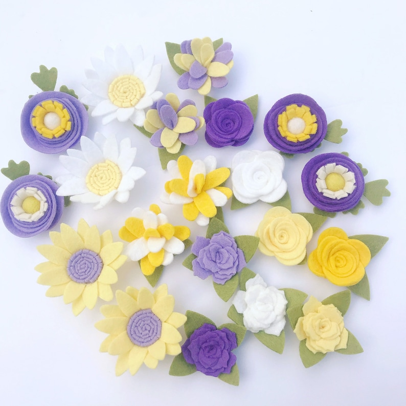 PURPLE SPRING felt flowers  loose  diy craft lavender white yellow  daisy rose  ready to use  headband mobile cake signs wreath
