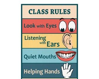 Classroom Rules sign chart kindergarten