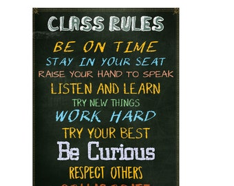Classroom Rules sign chart LAMINATED