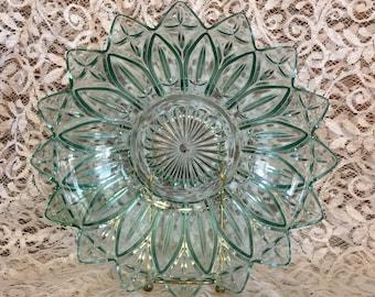 Vintage Federal Glass Petal Pattern Blue Serving Bowl