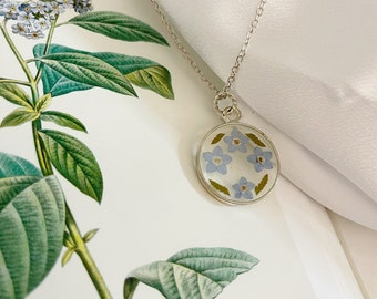 Pressed real flower necklace - dainty  forget me not flowers and fern sterling silver necklace -made with flowers - handmade gift