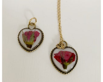 Pressed flower necklace red rose bud dainty flowers necklace - Gold heart shape- dry florals - handmade necklace